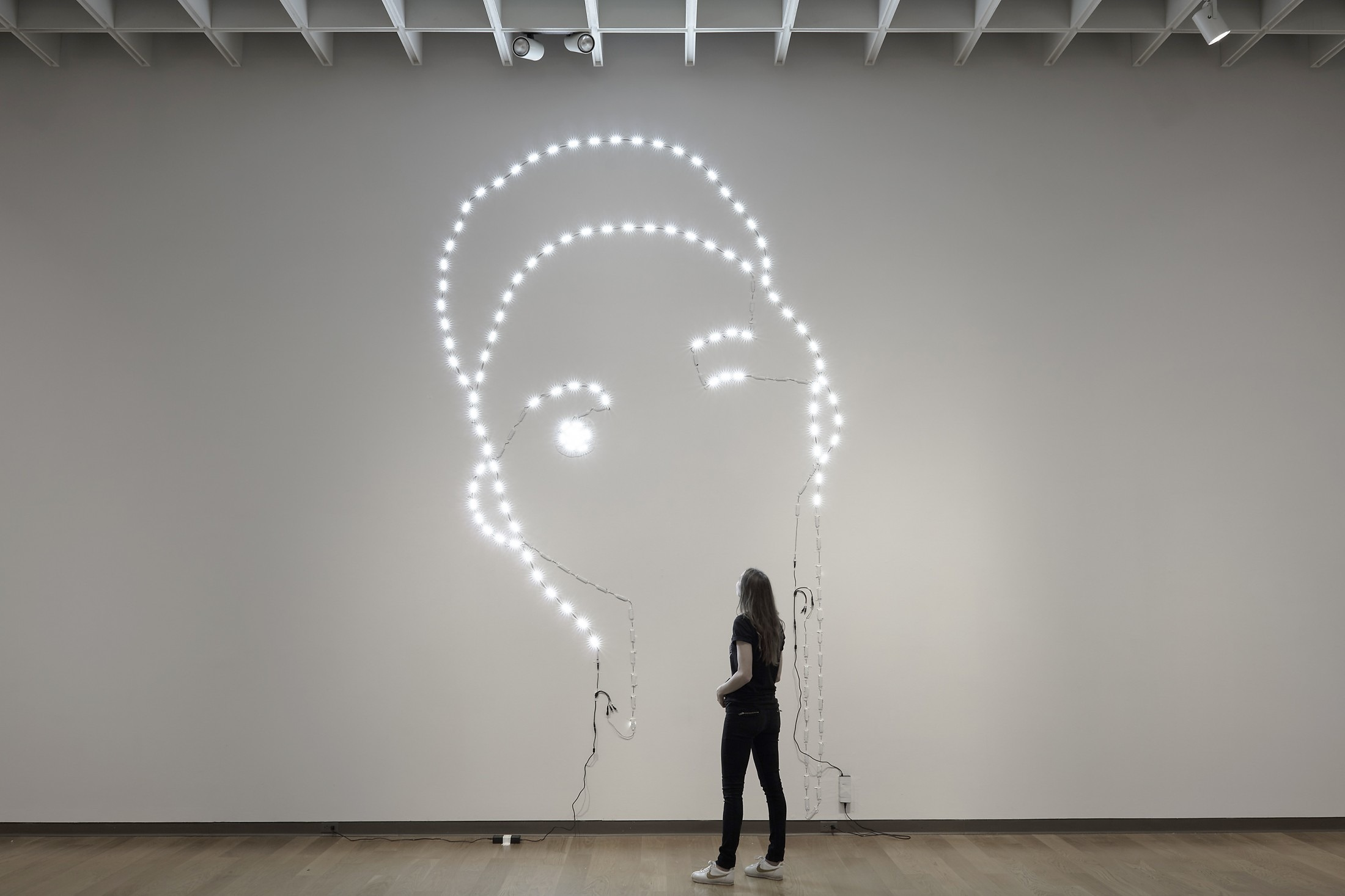 The Young Artist (1840/2018) S5630 Waterproof LED lights, solder, electrical cords, electrical transformer, artist tape, white paint, 14'9″ x 8'8″ 2018