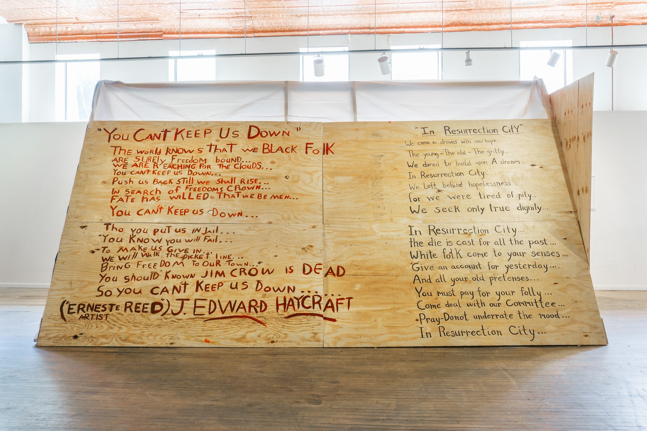For Resurrection City 10x16x10′ Plywood, utility fabric, blanket, 1968 political literature library, paint, plastic 2018